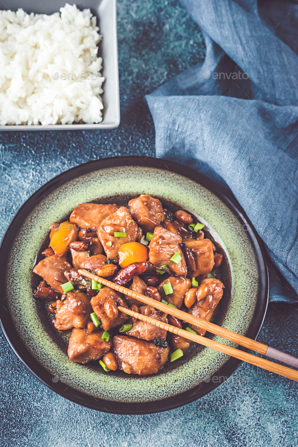 Bowl of Kung Pao chicken - Stock Photo - Images