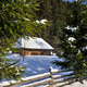 Winter landscape, spruses and cottage covered with snow - PhotoDune Item for Sale