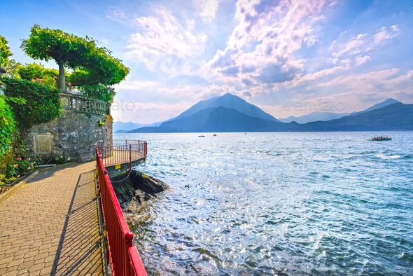 Varenna Walk of Lovers, Como Lake district landscape. Italy, Eur - Stock Photo - Images