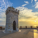Sunset view of Piombino piazza bovio lighthouse and Elba Island. - PhotoDune Item for Sale