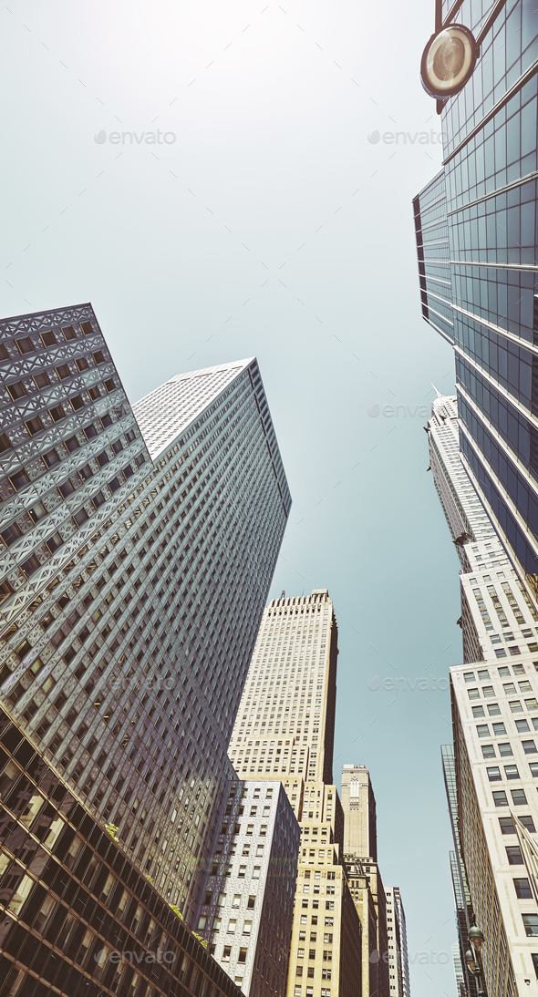 Looking up at Manhattan buildings, NYC. - Stock Photo - Images