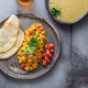 Indian Style scrambled eggs Akuri with paratha, dahl and ice tea, copy space - PhotoDune Item for Sale