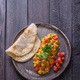 Indian omelette with spices and tomatoes, copy space - PhotoDune Item for Sale