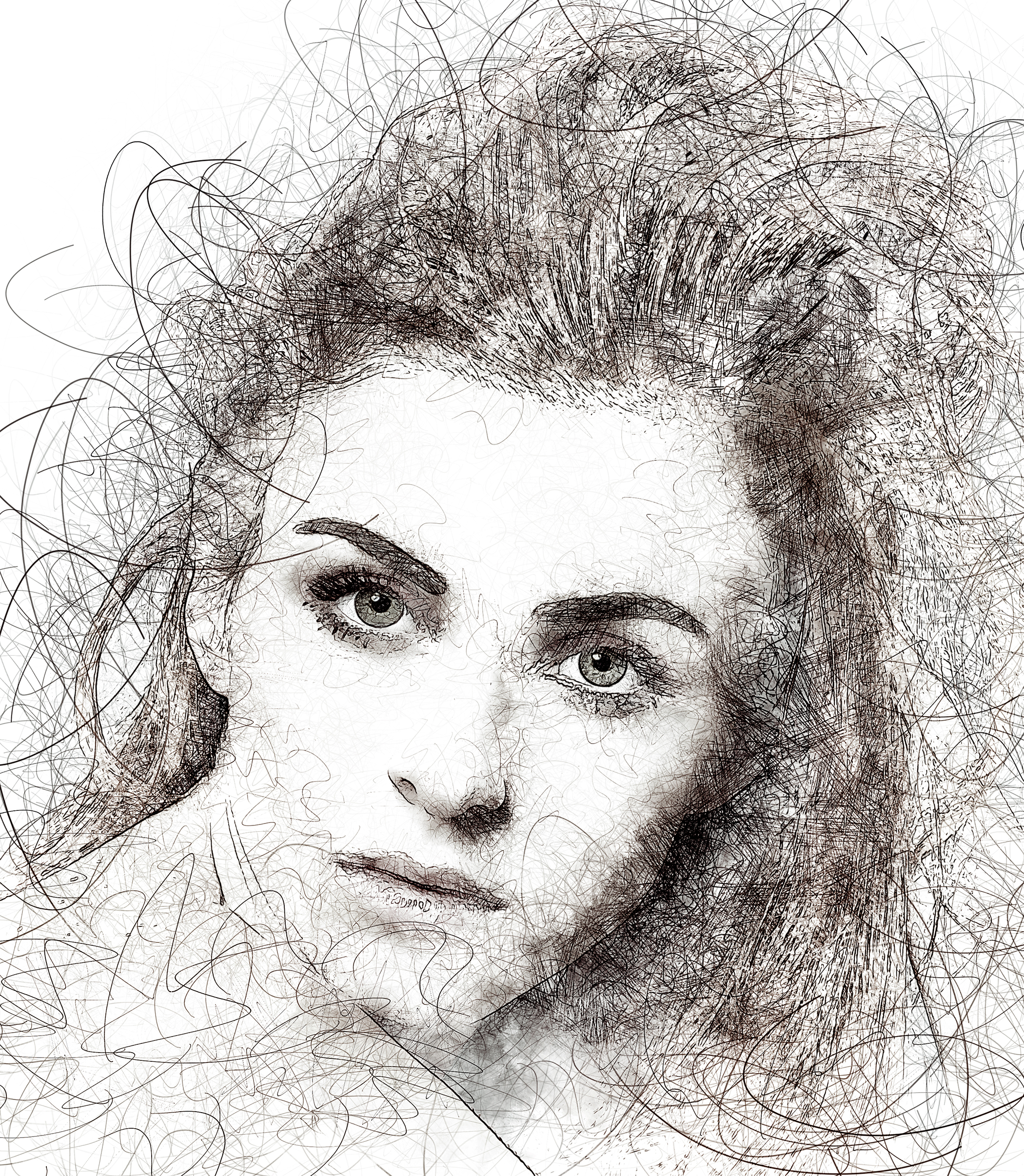 Portrait Scribble Sketch Art Photoshop Action