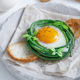 Green bean nest with fried egg on toasted bread - PhotoDune Item for Sale