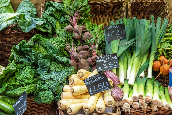 British parsnips, leek, savoy cabbage and other vegetables - Stock Photo - Images