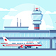 Flat Airplane in Airport on Runway Near Building - GraphicRiver Item for Sale