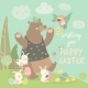 Bear and Happy Rabbits Celebrating Easter - GraphicRiver Item for Sale