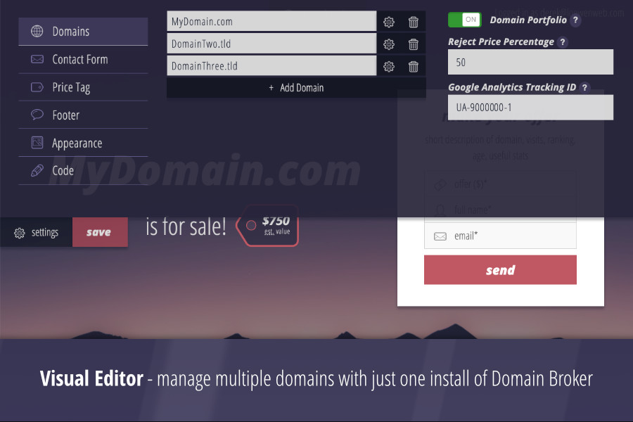Domain Broker 2 - Landing Page to Sell Domains