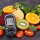 Natural nutritious fruits with vegetables and glucometer with result of sugar level - PhotoDune Item for Sale