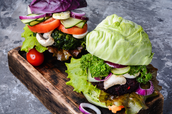 Veggie burger on wood table - Stock Photo - Images