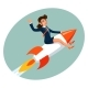 Businesswoman Space Rocket Ship Female Business - GraphicRiver Item for Sale