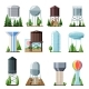Water Tower Vector Tank Storage Watery Resource - GraphicRiver Item for Sale
