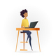 Freelancer Woman Working by Computer on Table - GraphicRiver Item for Sale