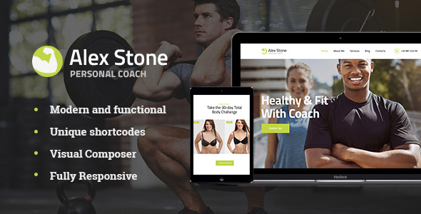 Alex Stone | Personal Gym Fitness Trainer WordPress Theme