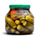 Pickled cucumbers and tomatoes in a glass jar - PhotoDune Item for Sale
