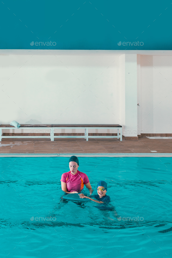 Boy on swimming class - Stock Photo - Images