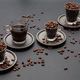 Coffee cups and beans on black color background - PhotoDune Item for Sale