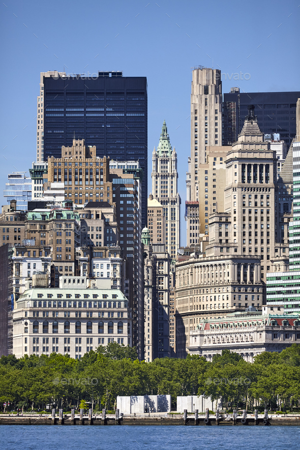 Manhattan historic and modern architecture, New York. - Stock Photo - Images