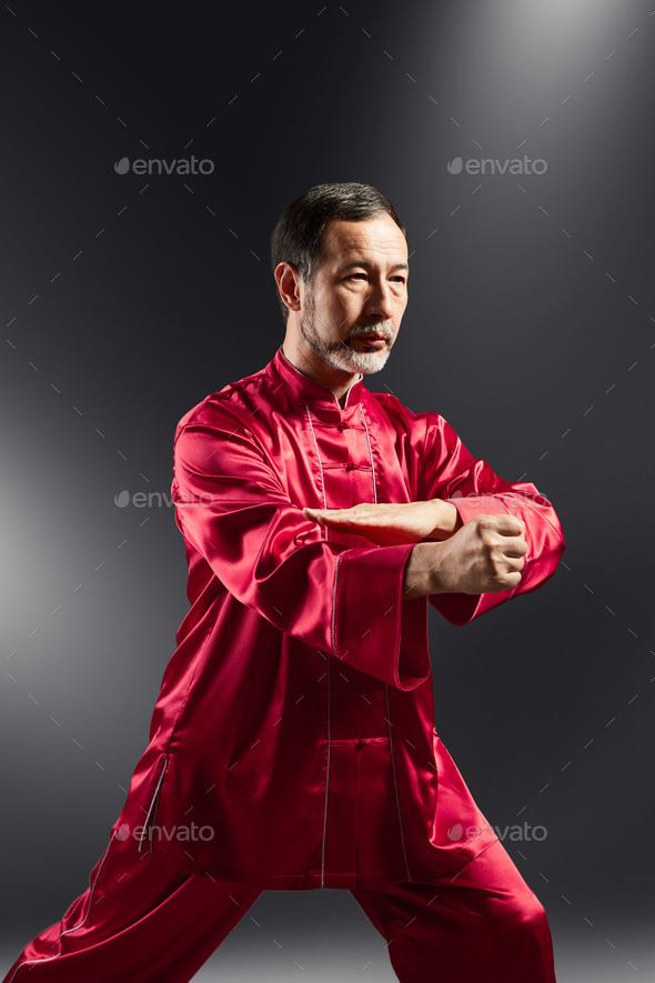 Senior master practicing qi qong taijiquan - Stock Photo - Images