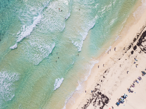 Aerial straight down view of beach on Cozumel, Mexico. - Stock Photo - Images