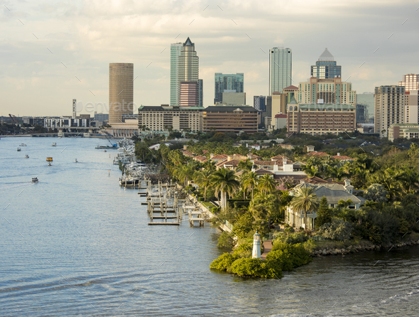 View of downtown Tampa, Florida from the harbor. - Stock Photo - Images