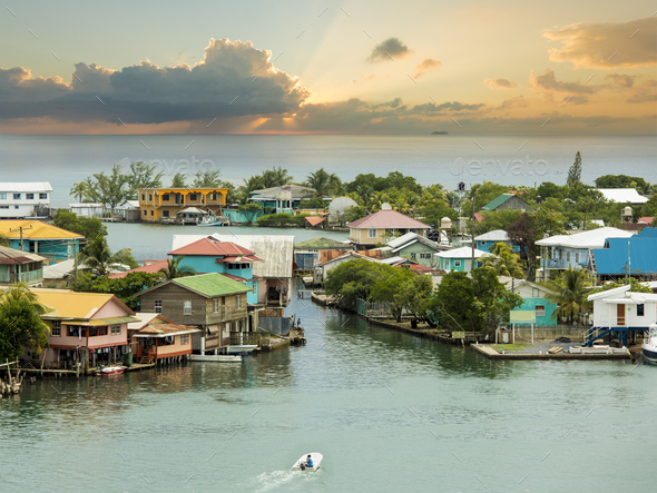 Oak Ridge area of Roatan Island, Honduras at sunrise - Stock Photo - Images