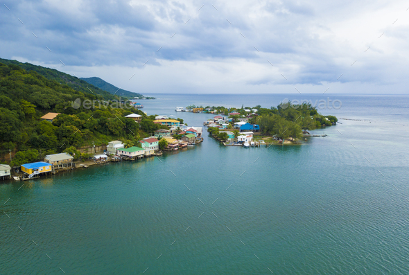 Aerial view of Oak, Ridge, the Venice of the Caribbean, in Roata - Stock Photo - Images