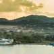 Panorama of Coxen Hole, Roatan with fog in first morning light. - PhotoDune Item for Sale