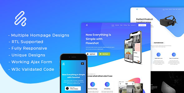Flowshot - Multi Concept App & SaaS Landing Page + RTL Support - Technology Site Templates