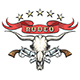 Rodeo Emblem With Bull Skull and Revolvers - GraphicRiver Item for Sale