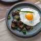 Breakfast with fried egg and croutons, close view copy space - PhotoDune Item for Sale