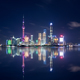 beautiful shanghai skyline and reflections,  abstract cityscape at night - PhotoDune Item for Sale