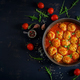 Chicken meatballs with tomato sauce in a pan. Dinner. Top view. Dark background. - PhotoDune Item for Sale