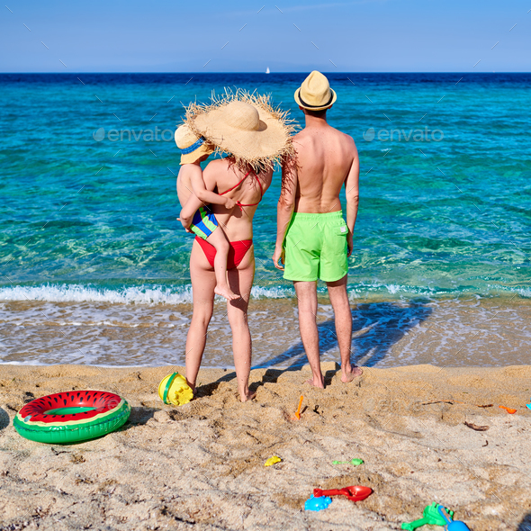 Family on beach in Greece - Stock Photo - Images
