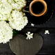 Cup of coffee with bouquet hydrangea Good morning. Flat - PhotoDune Item for Sale