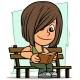 Cartoon Boy Character Reading Book on Wooden Bench - GraphicRiver Item for Sale