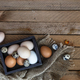 Farm eggs on wooden table background, copy space - PhotoDune Item for Sale