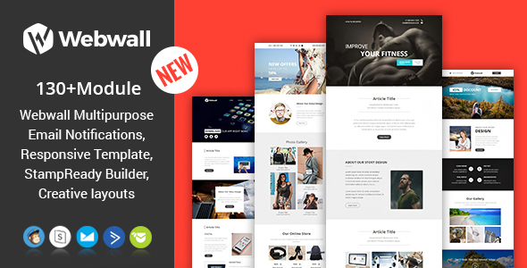 Webwall- 130+ Modules - Responsive Email Template + Builder