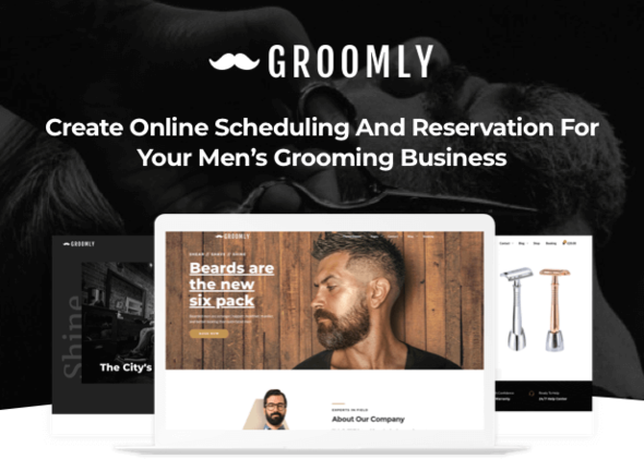 Groomly - Men's Grooming Scheduling & Reservation WordPress Theme - Health & Beauty Retail