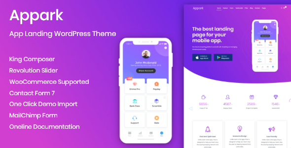 Appark – App Landing WordPress Theme - Software Technology