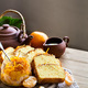 Tangerine cake with tea background - PhotoDune Item for Sale