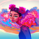 Girl with Clouds and Roses in the Hair - GraphicRiver Item for Sale