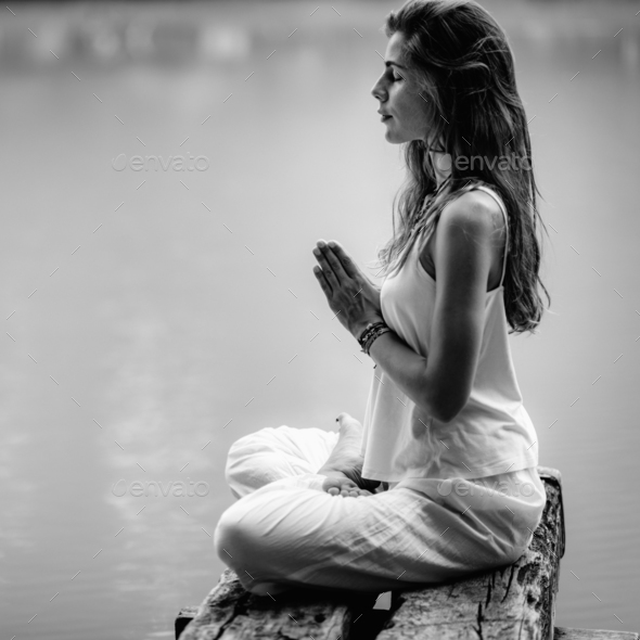Mindfulness and Meditation. Yoga Woman. Hands in Prayer Position - Stock Photo - Images