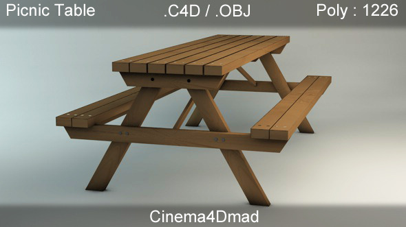 Picnic table / Bench cinema 4D - 3DOcean Item for Sale