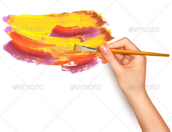 Abstract Color Background with Hand - Backgrounds Business