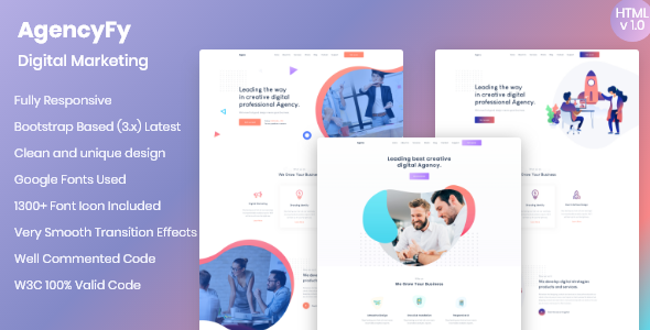 Agencyfy - Creative Agency and Digital Marketing HTML Template by QuomodoTheme