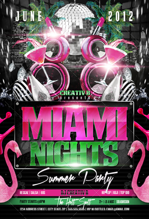 Miami Nights Party Flyer Template By Creativb | Graphicriver