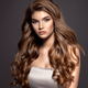 Young brown-haired woman with long curly hair. - PhotoDune Item for Sale