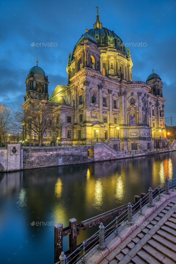 The Berlin Cathedral with the river Spree - Stock Photo - Images